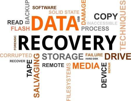 A word cloud of data recovery related items Stock Illustratie