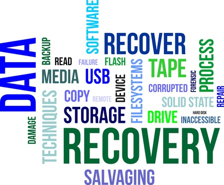 data backup: A word cloud of data recovery related items Illustration