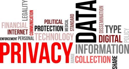 datos personales: Una nube de palabras de datos de artículos relacionados con la privacidad