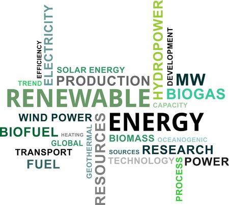 hydro power: A word cloud of renewable energy related items