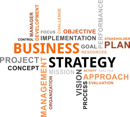 A word cloud of business strategy related items Illustration