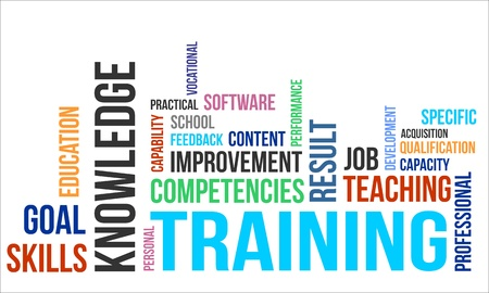 A word cloud of training related items Ilustração