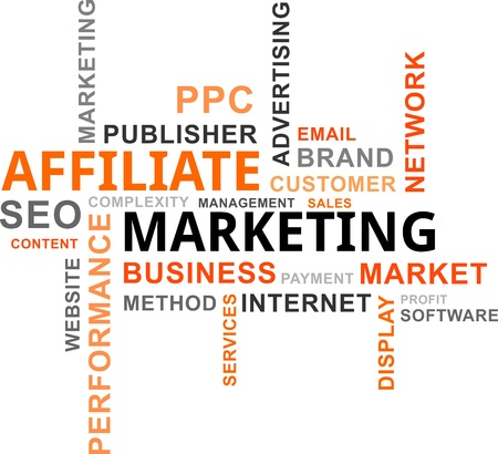 A word cloud of affiliate marketing related items Stock Illustratie