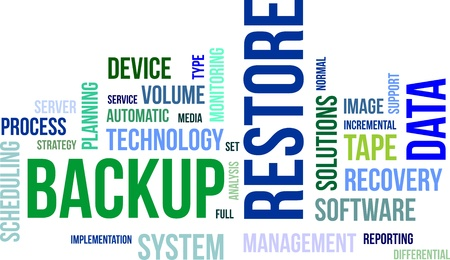A word cloud of backup restore related items Ilustrace
