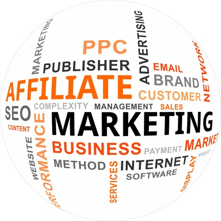 affiliate: A word cloud of affiliate marketing related items Illustration