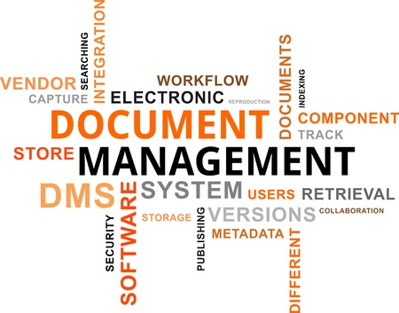 A word cloud of document management related items  イラスト・ベクター素材