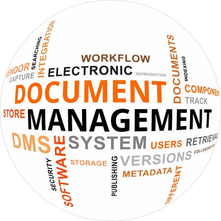 A word cloud of document management related items Stock Illustratie