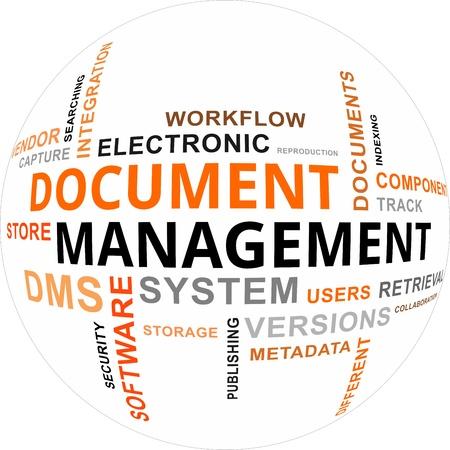 gestion documental: Una nube de palabras de la gestión documental artículos relacionados Vectores