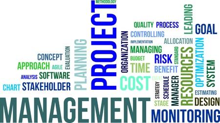 management concept: Una nube de palabras de los elementos de gesti?n de proyectos relacionados con la