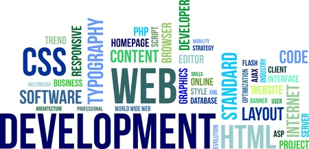 A word cloud of web development related items Vector