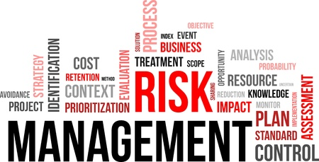 risico analyse: Een woord wolk van risicomanagement gerelateerde items Stock Illustratie