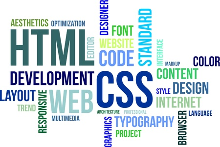 hypertext: A word cloud of html and css related items