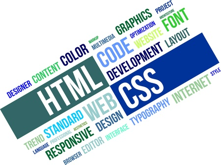 A word cloud of html and css related items