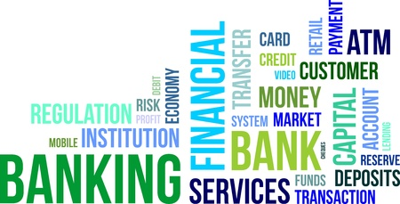 A word cloud of banking related items Vectores