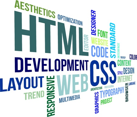 banner design: A word cloud of html and css related items