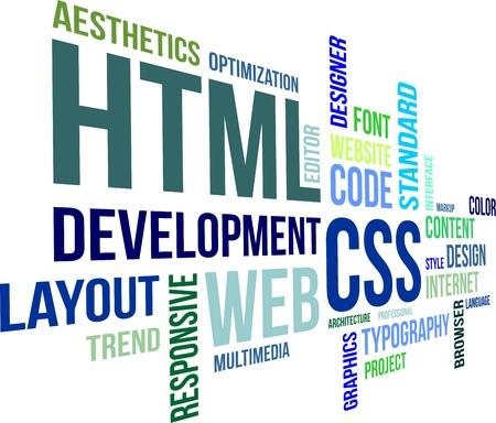 Ein Wort-Wolke von html und css Verwandte Artikel Standard-Bild - 21936315