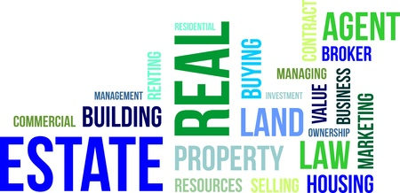 A word cloud of real estate related items Vectores