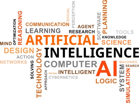 A word cloud of artificial intelligence related items