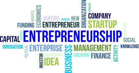 A word cloud of entrepreneurship related items Illustration
