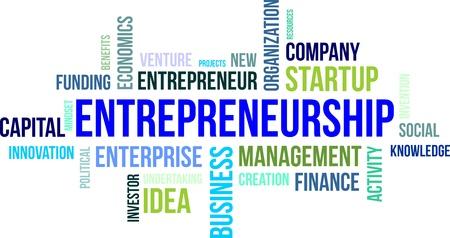 emprendimiento: Una nube de palabras de elementos relacionados empresarial Vectores