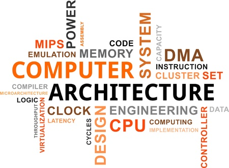 A word cloud of computer architecture related items Vector