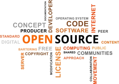 operating system: A word cloud of open source related items Illustration