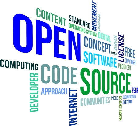 open source: A word cloud of open source related items Illustration