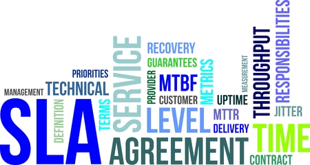 A word cloud of service level agreement related items Ilustrace