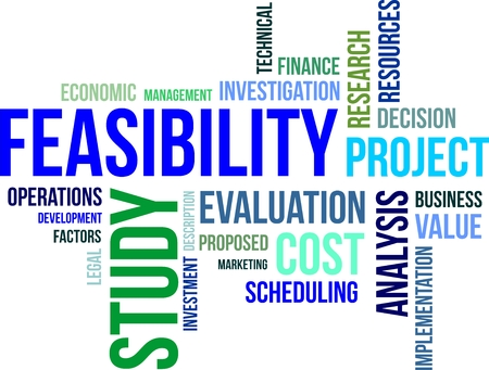 A word cloud of feasibility study related items Çizim
