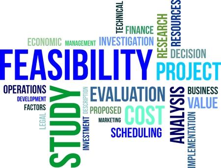 evaluacion: Una nube de palabras de estudio de factibilidad artículos relacionados Vectores