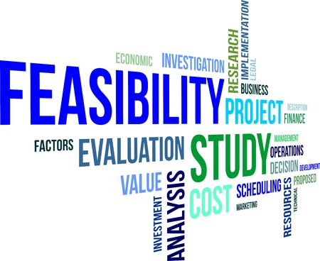 A word cloud of feasibility study related items Stock Illustratie