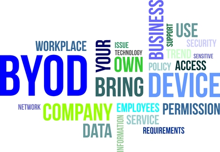 Eine Wortwolke von BYOD verwandten Artikel Illustration