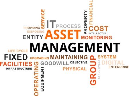 clavados: Una nube de palabras de activos elementos relacionados con la gestión