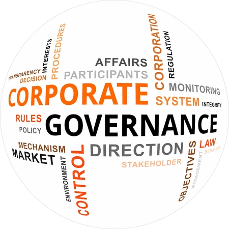 Een woordwolk van de corporate governance-gerelateerde items Stockfoto - 23330605
