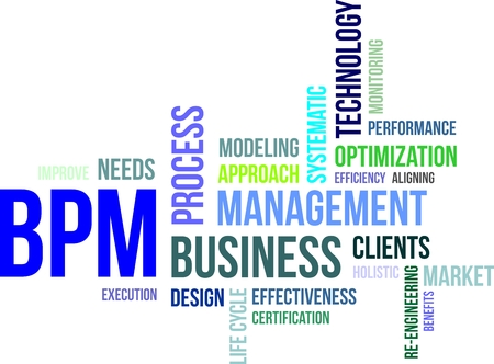 A word cloud of business process management related items Vector