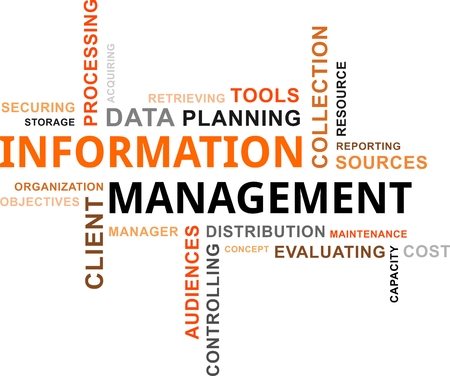 securing: A word cloud of information management related items Illustration