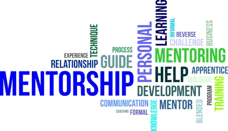A word cloud of mentorship related items Vectores