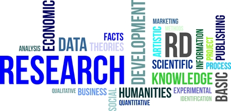 A word cloud of research related items Vectores