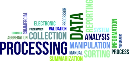 A word cloud of data processing related items