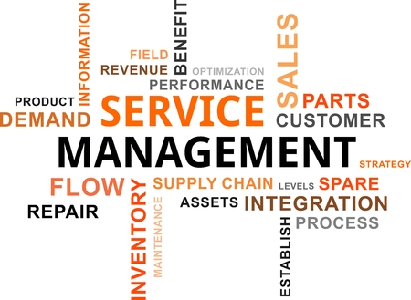 A word cloud of service management related items Vectores