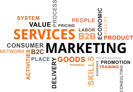 A word cloud of services marketing related items Vectores