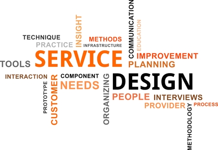 A word cloud of service design related items