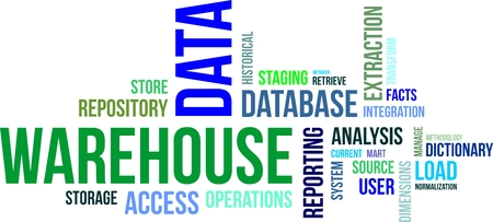 metadata: A word cloud of data warehouse related items