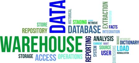 data warehouse: Una nube de palabras de art�culos de almac�n de datos relacionados Vectores