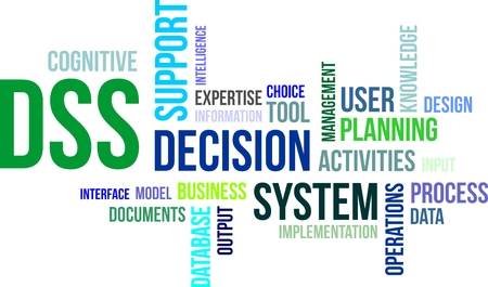 A word cloud of decision support system related items