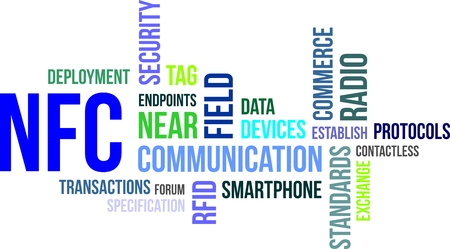 A word cloud of near field communication related items Vectores