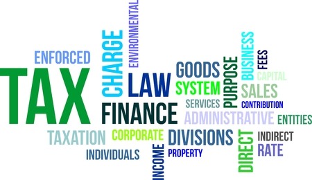 A word cloud of tax related items Vectores