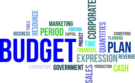 A word cloud of budget related items Vector