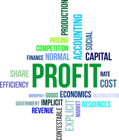 maximization: A word cloud of profit related items Illustration