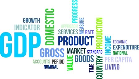 nominal: A word cloud of gross domestic product related items Illustration
